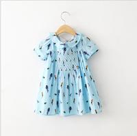 2015 New Girls Cotton Bird Pattern Summer Dresses, Children Fresh Style Clothing White Light Blue 6 pcs/lot, Wholesale