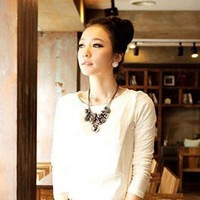 Free Shipping Women Fashion Retro Jewelry Bead Pattern Retro Long Pendant Sweater Chain Necklace New