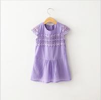 2015 New Girls Solid Cotton Hollow Out Lace Hem Summer Dresses, Baby Kids Brand Clothes White Purple 6 pcs/lot, Wholesale
