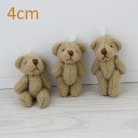 H-4cm Brown Stuffed Jointed Bear lovely Mini teddy bears Gift Flower Packing 100pcs/lot
