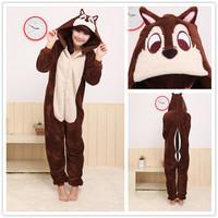 Men/Women Brown Chipmunk Costume Animal Hoodies Pajamas Causal Lounge Sleepwear Free Shipping