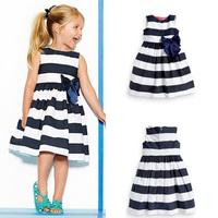 Kid Girls One Piece Dress Blue White Striped Bow Summer Tutu Dress  Free Shipping