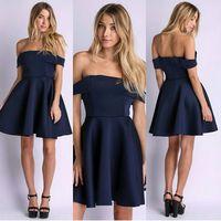 vestidos 2015 women dress newest hot spring AliExpress EBAY word shoulder navy blue dress sexy vestido de festa casual dress