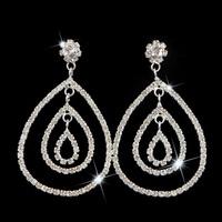 New Women Fashion Long Big SWA Element Crystal Alloy Chandelier Drop Earrings Bridal Wedding Silver Ear Stud Jewelry LE1020