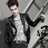 Men's brand hair stylist Bar Male nightclub Korean short paragraph Slim leather motorcycle leather jackets coat clothing