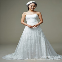 2015 new heart-shaped collar Bra Removable waist coat trailing lace wedding dress wholesale upscale