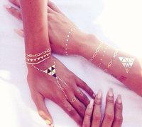 ( 4 piece )Fashion 2015 women temporary tattoo stickers african style jewelry body sticker golden tatoos . T19-23