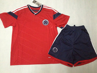 promotion !!  High  Quality Colombia  Away  Red  2014  season    Football  shirt +shorts      Soccer  jersey   Free Shipping