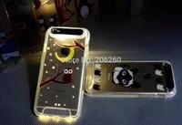 Fashion Owl Cartoon Stylish Lightning Flash LED Light Luminous Flash Light Brushed Metal TPU Case Cover For iphone 6