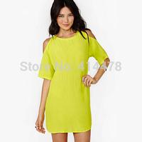2015 New Fashion Chiffon Women Summer Off The Shoulder Women Dresses Loose Casual Dress Clothing