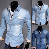 2015 men's c asual  Long-sleeved Denim  shirt  Lapel ,HIGH quanity   Camisa Jeans Roupas Masculinas  UC802