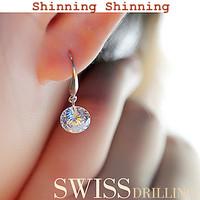925 Sterling Silver with Artificial Diamond Earrings, 8mm,9mm,10mm, Women Accessories Earrings SE0019