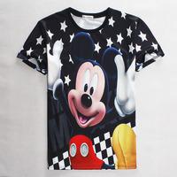 [Magic] 2015  Men/Women t shirt cartoon printing 3D hip hop man T- shirt size S-XL 1865 Free Shipping