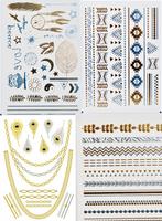 ( 4 piece ) 2015 women temporary tattoo stickers metal silver henna accessories temporary tattoo sticker ,T24-27