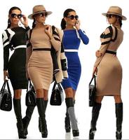 Fashion Women Spring Dress 2015 O neck Patchwork Slim Bodycon Knee-length Pencil Sheath Dress