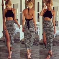 New 2015 Fashion Summer Dress Women Ladies Casual Dress Vintage Folk Print Bohemia Beach Dresses crop top + split dress 2pcs