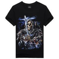 Skull Skeleton Black Knight Cool t-shirt Tops Short Sleeve Shirt Tee for man