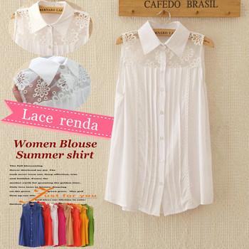 2015 Spring Summer women camisas fashion blouse embroidery flower lace shoulder shirt renda blusas femininas 2014 sleeveless top