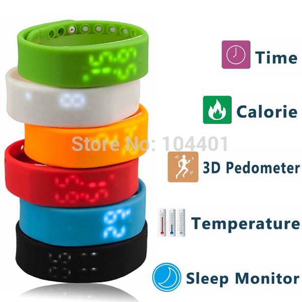 W2 Smartband Slim Smart Bracelet USB Wristwatch 3D Pedometer Sleep Temperature Calorie Monitor Time Display Fitness Sports Wrist(China (Mainland))