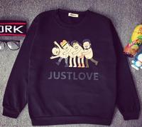 Fleece women clothing 2015 funny cartoon naked men JUST LOVE letter printed sweatshirt cool sweatshirts hoodies Nora10760