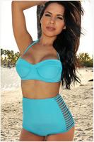 Free shipping 2015 fashion high waist women bikinis set,bra-style girl bikini boxer swimwear/beachwear swimsuit
