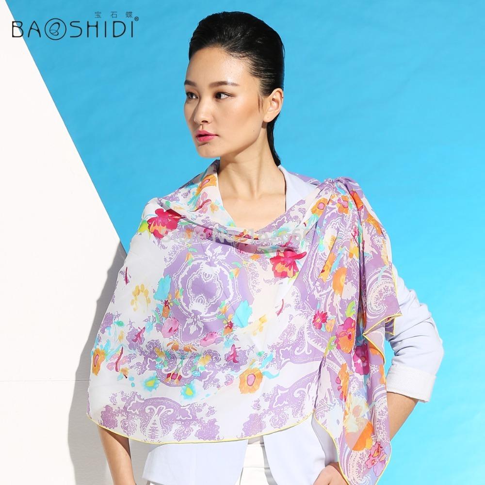 Latest large size fashion lady shawl real silk georgette famous brand 2014 scarf flower yellow purple black(China (Mainland))