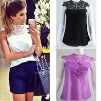 2015 New Summer Women Hollow Out Patchwork Lace Blouses blusas com renda Women blouse Plus Size Crochet Lace Tops Blusa  H1368