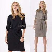 Hot Sale Women Dress 2015 Brand New Winter Fashion O-neck Women's Dress Plus Size Casual Dresses Ladies Free Shipping B16
