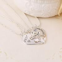 Best Friends Forever Letters Broken Heart Pendant Necklace 3Pcs/Set Clavicle Chain