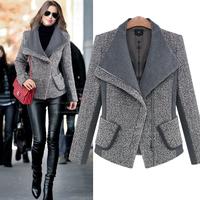 2015 new arraival trend European Grand Prix Big Lapel Thick loose British style Slim Female jacket women woolen coat