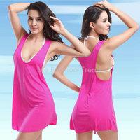 2015 Summer Women Beach Bathe Smock Cover-Ups Sleeveless Vest Dress Euro Size elastic Sexy Swimwear Vestido de praia Swimsuit