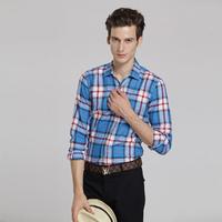 New Brand Mens Plid Dress Shirts Long Sleeve Casual Slim Fit  Shirts Men Camisa Masculina Plus Size M-XXXL