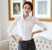 2014 spring clothing new women's fashion long-sleeved shirt Slim white shirt