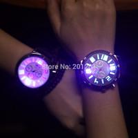 Stunning Luminous Quartz Watches 5945 Fashion Men Women's Lover Watch Couples Silica Gel Jelly Band Free Shipping