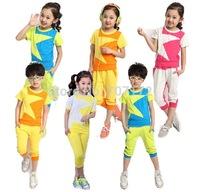 shampooers jogging tracksuits sport set children clothing set stars boys set short t shirt+pants 2 pcs set clothes Free Shipping