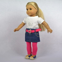 """Doll Clothes Fits 18"""" American Girl Doll, Doll Dress, Outfit, T-Shirt+ Denim Skirt+ Pink Tights + Belt,4pcs, Girl's Gift, G07"""