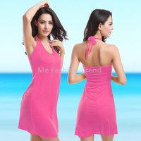 2015 Summer holiday beach bathing wear Smock Cover-Ups Bikini Dress Soft Halter strap elastic Swimwear Sling Vestido de praia