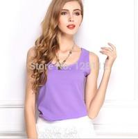 Plus Size S-XXXL 17Color New2015 Brand Top Basic Female Chiffon Blouse Sleevelss Women Shirt Clothing Blusas Roupas Femininas W1
