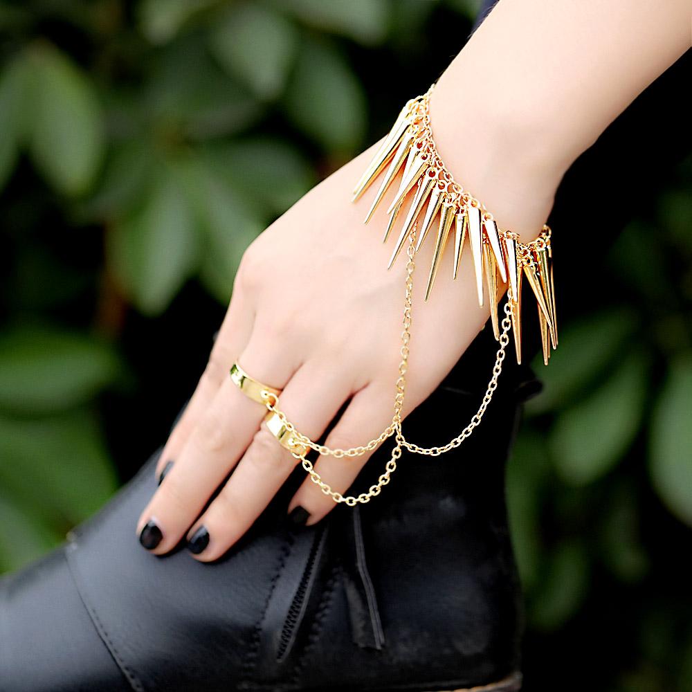 Pulseiras femininas Spike Rivet Chain Bracelet With Double Anillos Punk Rock Slave Hand Harness Golden Jewelry Pulsera Bracciali(China (Mainland))