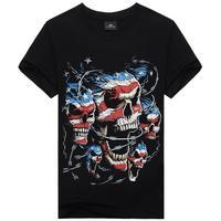 Amerian Flag Skeleton Gromm Hellscream Mens Casual t-shirt Tops Short Sleeve Shirt Tee for man L XL XXL XXXl
