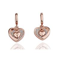 18k platinum jewelry fashion elegant double heart drop earring in ear earrings - honey