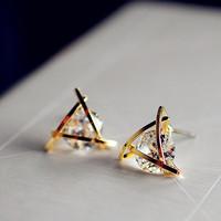 Fashion earrings women gold earings with rhinestones shiny large star crystal stud earrings ,ER-606