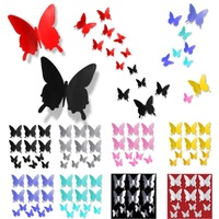 9X Wholesale 12pcs 6 big+ 6 small PVC 3D Butterfly Tatoos DIY Wall Sticker Home Decoration Decals Wall Decorations For Xmas A2