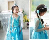 100pcs Wholesale long sleeve Children's dress girls Anna Elsa lace Fantasy blue purple girls dress Princess Party Dress for Kids