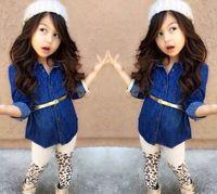 New arrival Girls Suits girls denim shirt + leopard leggings + belt children's long-sleeved kids Cowboy clothes set YCZ045
