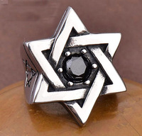 Freeshipping Goth vintage rings Man's fashion punk rings Star of David zircon cocktail ring never rust or tarnishe Knight