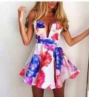 Women Summer Dress Limited Top Fashion Dress 2015 Vestidos Women Explosion Models Sexy Deep V Halter Trendy Nightclubs Summer