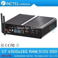 Intel I7 4500u 4650u fanless mini pc with haswell architecture 1.8Ghz USB 3.0 HDMI 8G RAM 512G SSD  Windows or Linux
