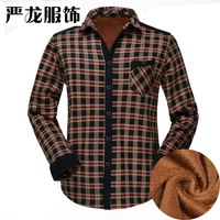 2015 winter spring men's grid casual long sleeve Plaid male turn-down collar regular warm padded and fleece shirts