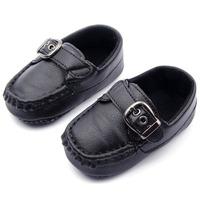 Fashion Baby Kid Toddler PU Leather Shoes Soft Cozy Anti Slip Bottom Black/White